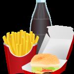 Drawing of fries, cheeseburger, and coke