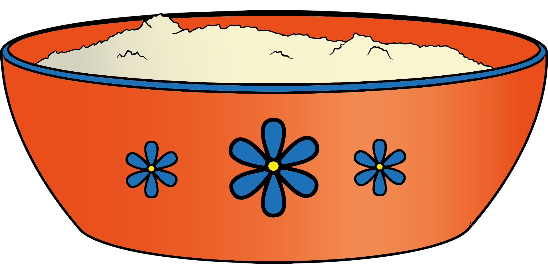 Drawing of an orange bowl with blue flowers on it. The bowl has what looks like rice cereal in it.