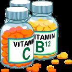Drawing of vitamin bottles. Visible are Vitamin C and Vitamin B12.